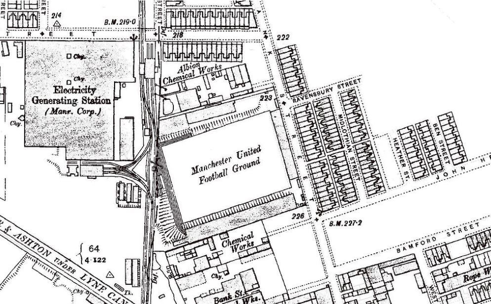 Map showing the historic site of Manchester United
